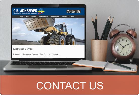 Contact CK Adhesives Excavation Wet Basement Foundation Repair